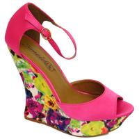 View Item LADIES PINK FLORAL PLATFORM SANDAL PEEP-TOE WEDGE ANKLE-STRAP SHOES SIZES 3-8
